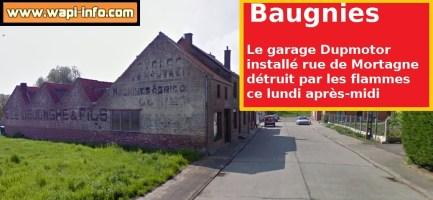 Baugnies : un garage installé à la rue de Mortagne détruit par les flammes