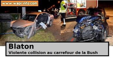 """Blaton : violente collision au carrefour de la """"Bush"""" ce dimanche soir"""