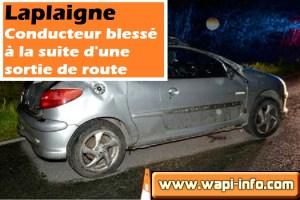 Péronnes - Laplaigne : un conducteur grièvement blessé à la suite d'une sortie de route