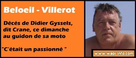 Beloeil - Villerot : décés de Didier Gyssels, dit Crane, ce dimanche au guidon de sa moto