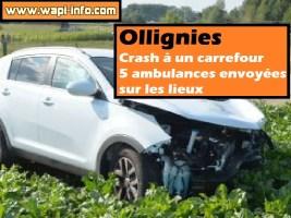 Ollignies : crash à un carrefour - 5 ambulances envoyées sur les lieux