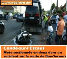 Condé-sur-l'Escaut : moto sectionnée en deux dans un accident sur la route de Bon-Secours