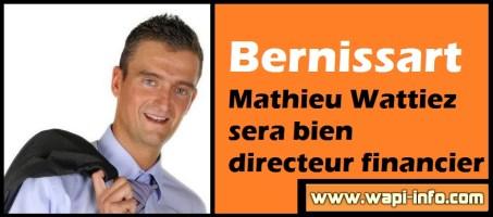 Bernissart : Mathieu Wattiez sera bien directeur financier