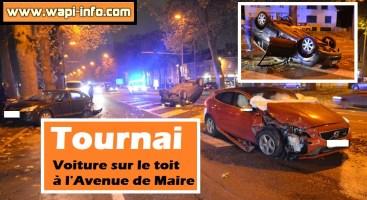 Tournai : voiture sur le toit à l'Avenue de Maire