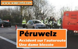 Péruwelz : accident sur l'autoroute - une dame blessée