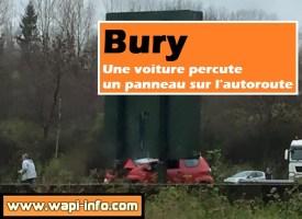 Bury : une voiture percute un panneau sur l'autoroute