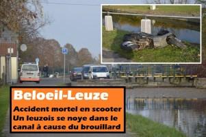 Beloeil : accident mortel en scooter - un leuzois se noie dans le canal à cause du brouillard