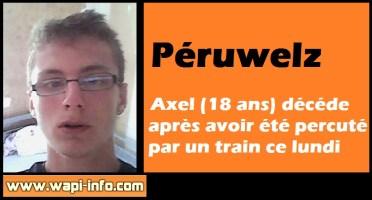 Péruwelz : Axel (18 ans) décédé après avoir été percuté par un train