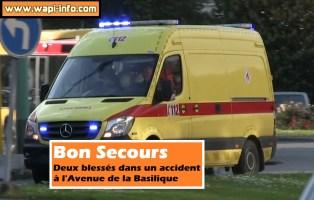 Bon Secours : deux blessés dans un accident à l'avenue de la Basilique