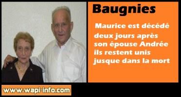 Baugnies : unis jusque dans la mort - Maurice est décédé deux jours après son épouse
