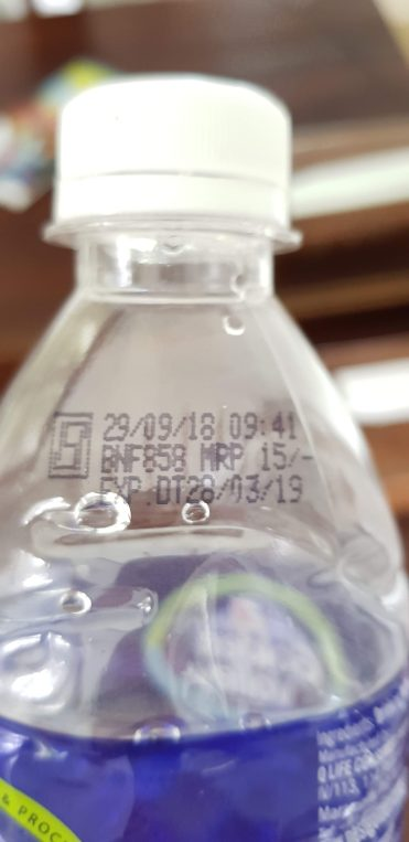 Price indication on water bottle (India)