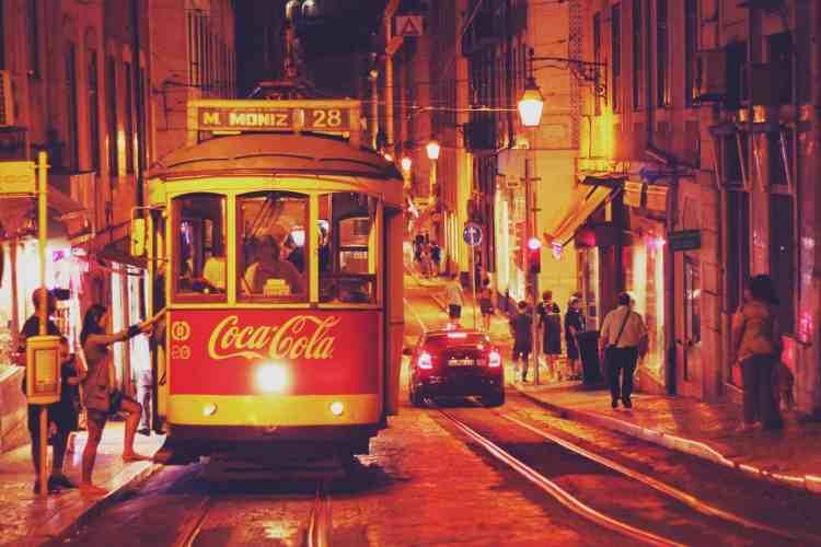 Lisbon tram at night, Portugal