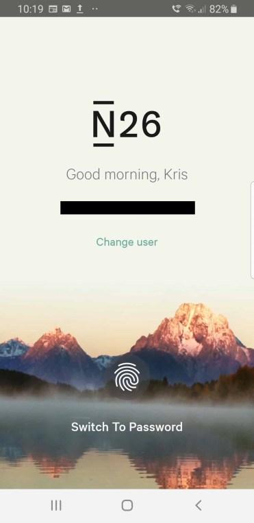 N26 login screen