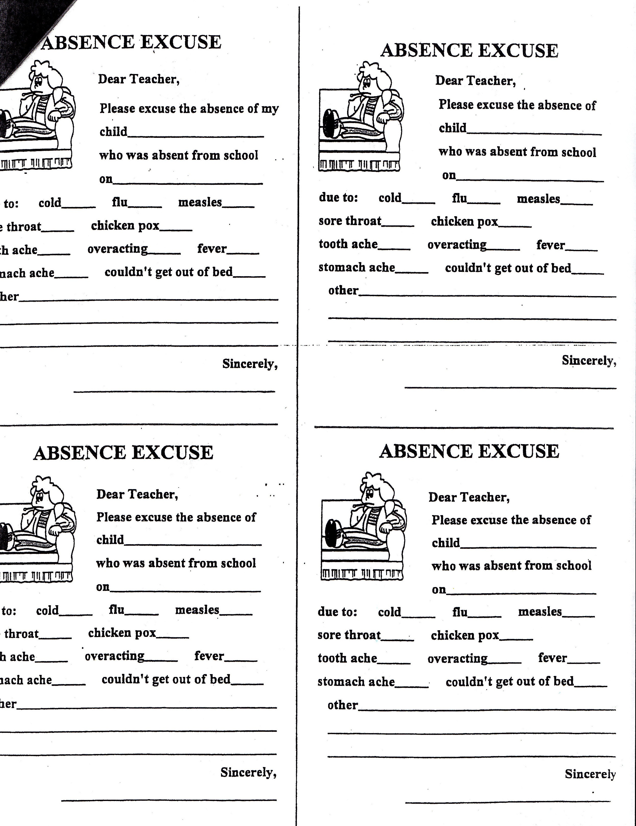 Carrigan Gina Absence Note Printable