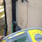 Our test equipment showing that there is mains voltage at the outside tap!