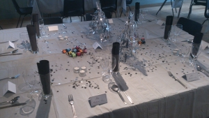 Village hall table decorated