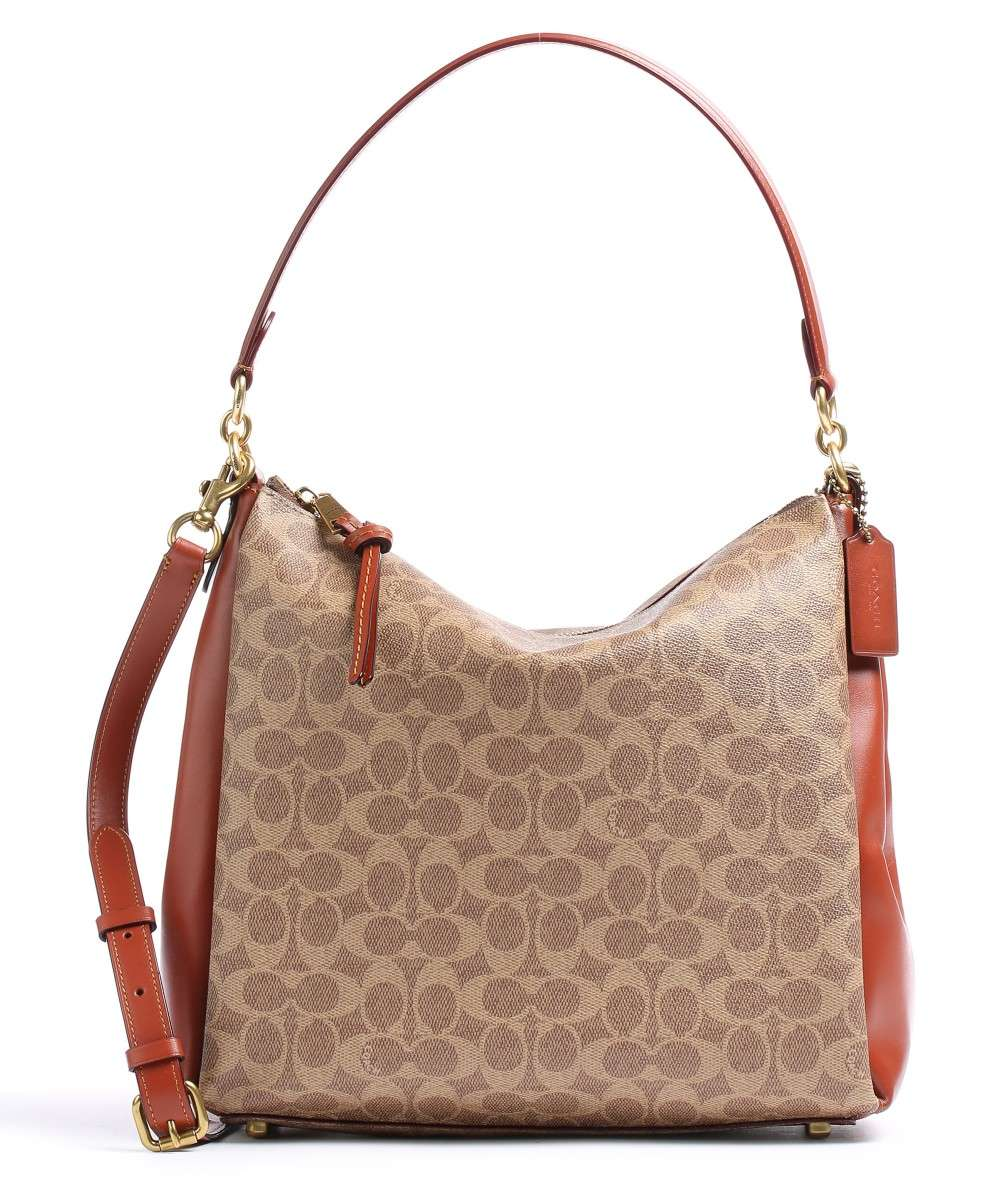 shay hobo bag coated canvas smooth leather beige brown