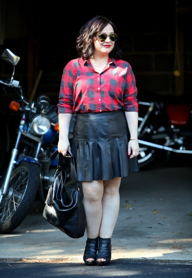 Wardrobe Oxygen What I Wore Leather and Plaid
