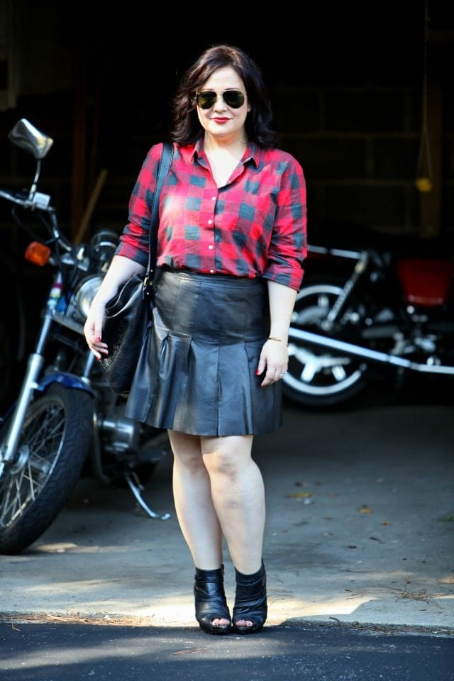 Wardrobe Oxygen What I Wore Plaid and Leather