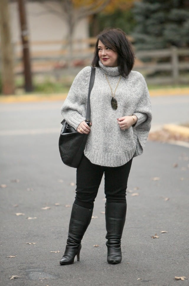 wardrobe oxygen what I wore gray poncho tunic sweater