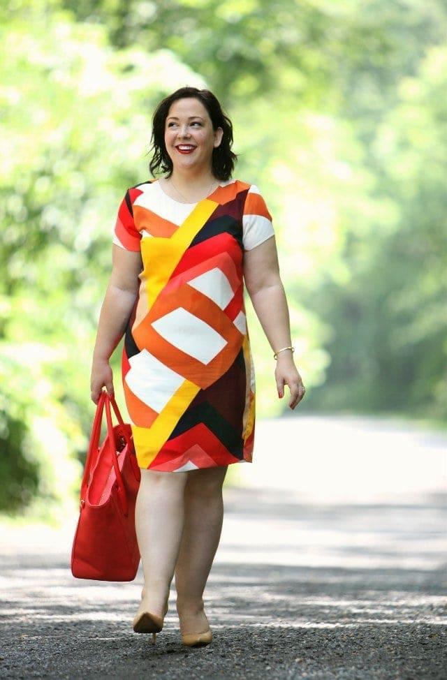 Wardrobe Oxygen wearing a Vince Camuto dress