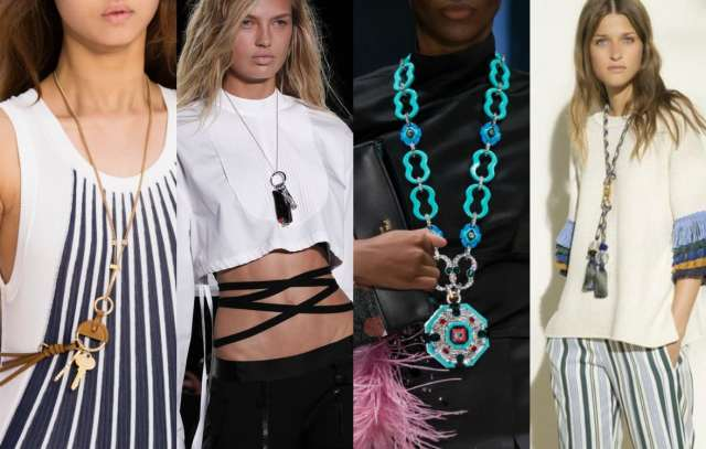 Long pendant necklace trend for spring summer 2017