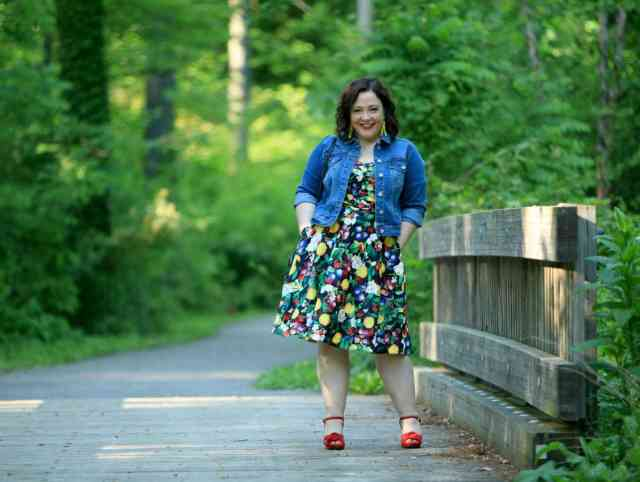 Wardrobe Oxygen in Ellos denim jacket and City Chic Fruit Salad Dress via Gwynnie Bee