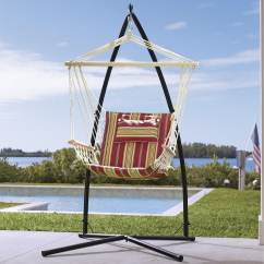 Swing Hammock Chair With Stand Heavy Duty Lawn Chairs Canada Striped And Hanging Base Cushioned Amp