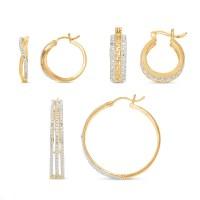 3-Pair Diamond Hoop Earring Set | Montgomery Ward
