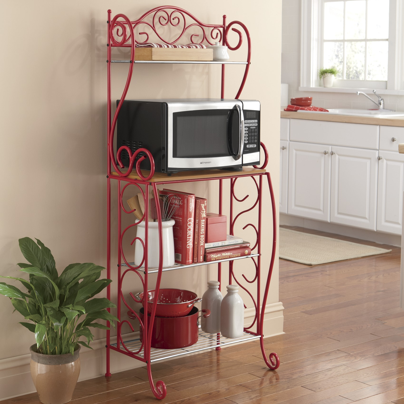 heart scroll microwave stand