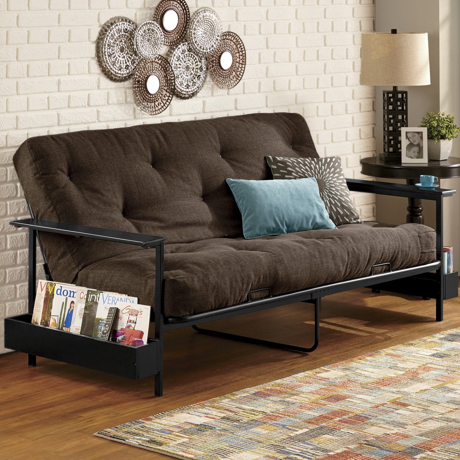 teal living room chair chairs design in nigeria furniture buy now pay later montgomery ward metal futon frame and double mattress by serta