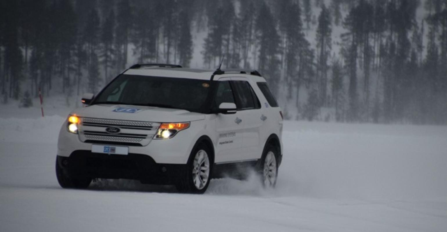ford explorer demo vehicle with zf trwrsquos ibc system drives across frozen lake in sweden [ 1540 x 800 Pixel ]