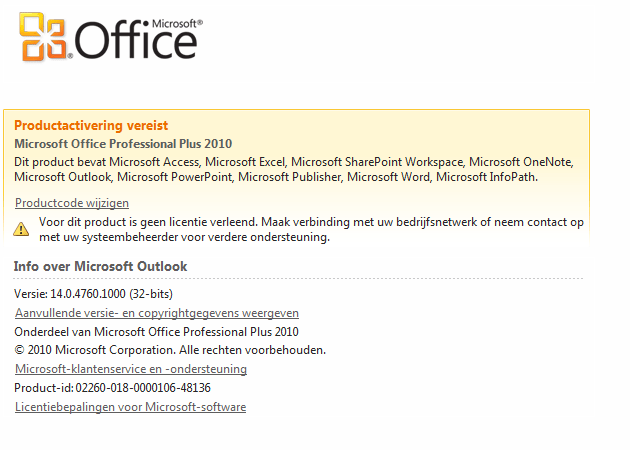 microsoft office professional 2010 will not activate