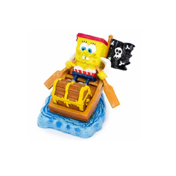 Spongebob Squarepants In Row Boat Aquarium Ornament