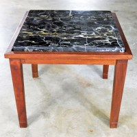 Mid Century Modern Walnut and Black Marble Square End or