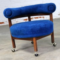 Royal Blue Round Corner Chair with Bolster Back on Casters ...