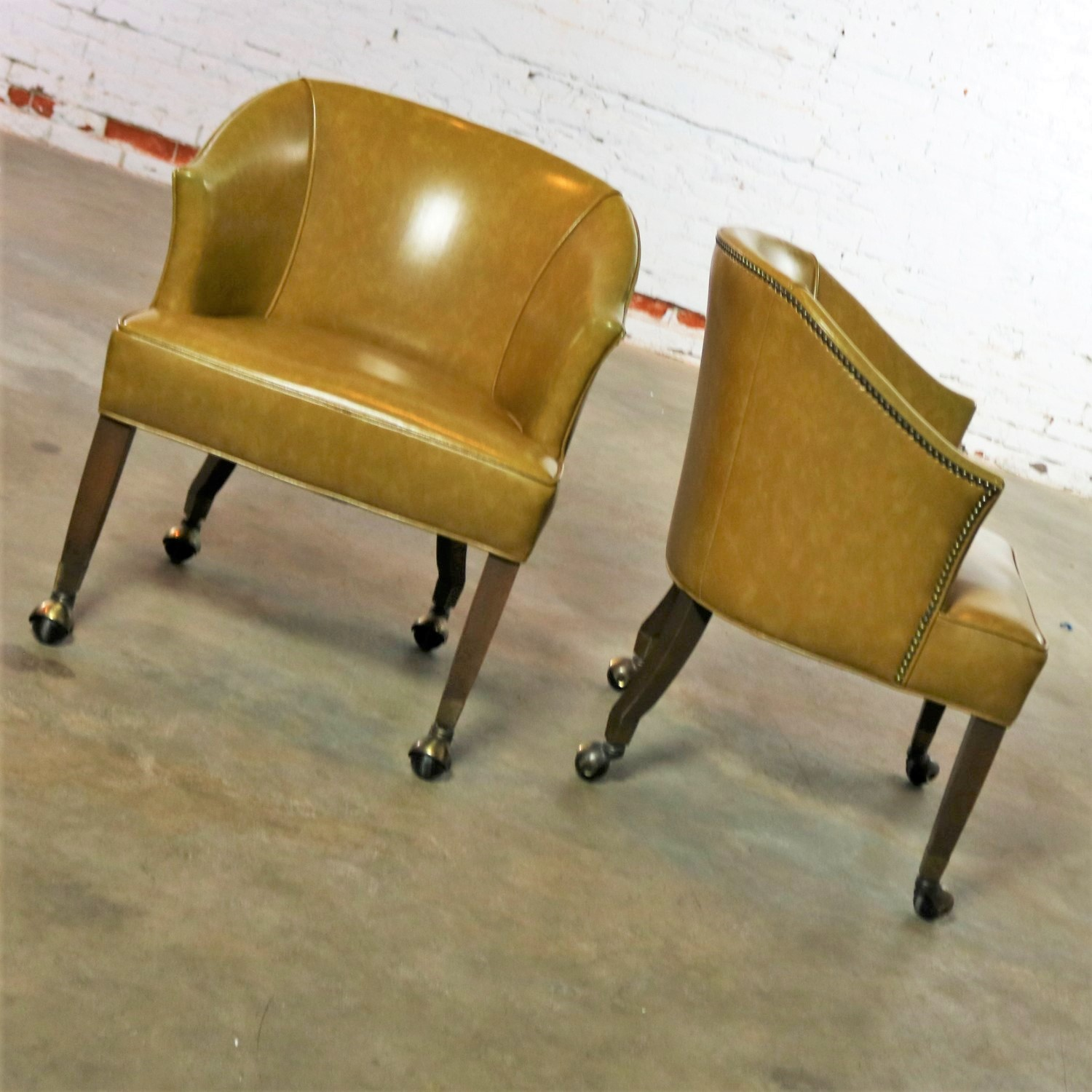 olive green accent chair wheelchair walgreens pair of mid century naugahyde rolling barrel