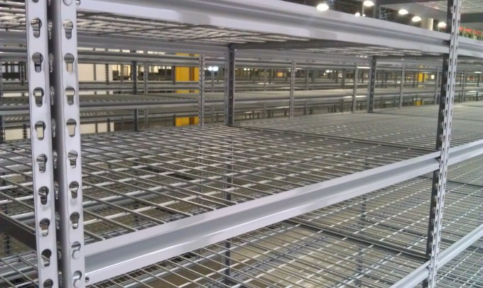 Rivet Shelving with Wire Mesh Decking (2)