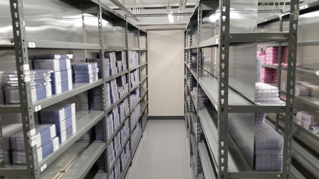 Very Narrow Open Metal Shelving with Dividers