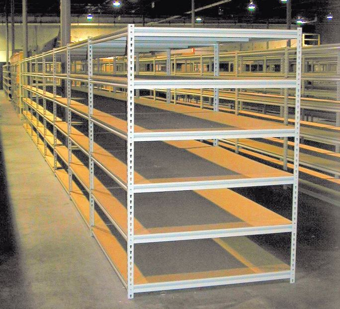Wide Span Rivet Shelving with Wood Decking