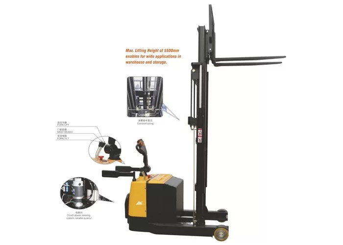 Electric Driving Stacker Forklift Truck Lifting Height