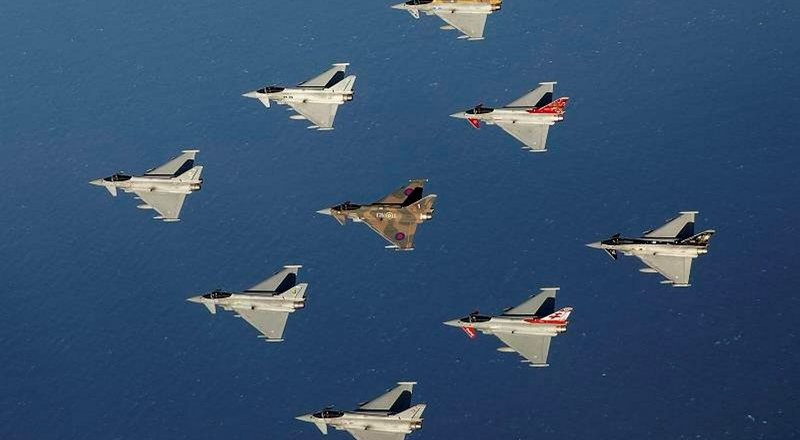 RAF Typhoons in diamond formation by SAC Chris Ellis (2015)