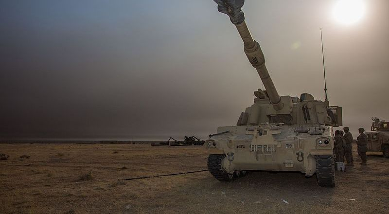 US Army M109A6 Paladin at Qayyarah West, Battle of Mosul, 16 Oct 2016