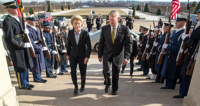 USA DoD, Def Sec Jim Mattis and German Def Min Ursula van der Leyen, Pentagon, 10 Feb 2017, by USAF Staff Sgt Jette Carr