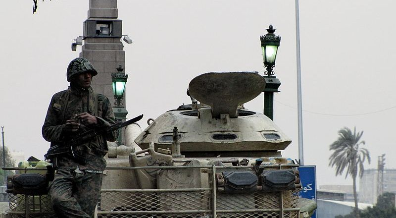 Egypt, Egyptian soldier on top of a tank during the 2011 Egyptian Revolution by Sherif9282 (6 Feb 2011, CC3) [800px]