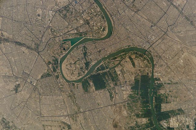 Photo of Baghdad, Iraq taken from the International Space Station (ISS) during Expedition 5 on August 24, 2002 (NASA)