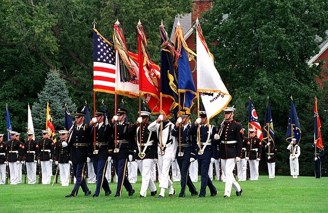 US Military Joint Service Color Guard, Fort Myer, Va, 2 Oct 2001, by Helene Stikkel (DoD)