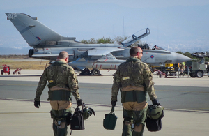 A Tornado crew based out of RAF Akrotiri walk out to their aircraft to undertake an operational sortie over Iraq and Syria.