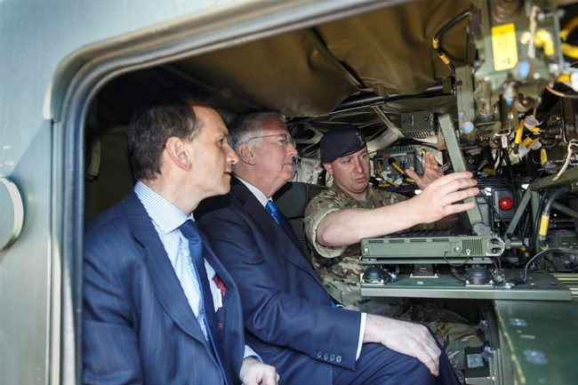 British Army Morpheus battlefield tactical communications, Sir Michael Fallon with Alun Cairn MP, Oakdale, by Patrick Olner (Crown Copyright)
