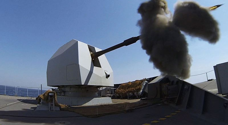 Royal Navy HMS Defender, Mk 8 naval gun in action (Crown Copyright, 2014)